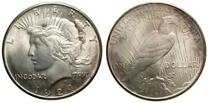United States Silver Peace Dollar 1924 GEM BU Brilliant Uncirculated MS-65+
