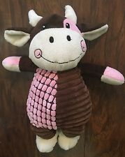 "Dan Dee 14"" Plush Cow Baby Lovey Stuffed Toy Brown Pink Chenille Sewn Eyes EUC"