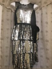 NWT Eloquii Womens Sequin tiered layered party Dress Size 18 18W Silver Black