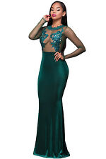 VERDE MANICA LUNGA PIZZO MESH LONG DRESS CLUB WEAR fashion sera Wear Taglia S M L