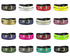 CONCITOR Reversible Belt Solid Colors & Black Bonded Leather Gold-Tone Buckle XL