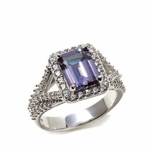 Emerald Cut Alexandrite and CZ Sterling Silver Solitare with accents Ring