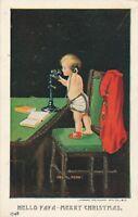 CHRISTMAS – Hello Papa Merry Christmas Glitter Covered Postcard - udb (pre 1908)