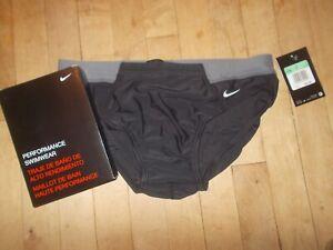 NIKE PERFORMANCE Victory Colorblock Black/Gray Brief Swimwear Sz 34 NWT