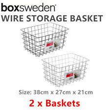 2 x Wire Storage Basket 38x27CM Metal Home Storage Organiser Container Bin Toy