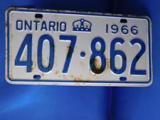 ONTARIO  LICENSE PLATE 1966 CROWN 407 862 CANADA  VINTAGE CAR SHOP GARAGE SIGN