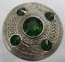 "Scottish Fly Plaid Brooch Green 5 Stone Silver Antique 4""/Kilt Fly Plaid Brooch"