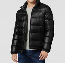 $244 Guess Mens Black Puffer Down Zip UP Jacket Warm Winter Coat L *DAMAGED*