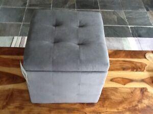 Argos small velvet storage pouffe, grey