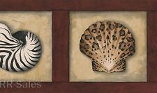 Wood Seashell Animal Print Sea Shells Nautical Bath Beach Wall Wallpaper Border