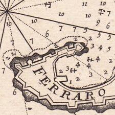 Carte Géographique XVIIIe Portoferraio Livourne Toscane Italie Портоферрайо 1764