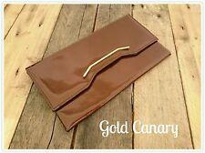 True Vintage 60s 70s Patent Leather Brown Clutch Purse Bag Boho