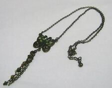 Lovely bronze tone metal chain necklace butterfly pendant green stones