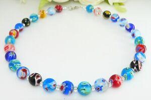 Halskette Lampwork Perle Millefiori Murano Art mehrfarbig multicolor bunt  208m