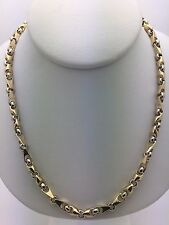 """Men's Solid 10K Gold Two Tone 22"""" Handmade Chain Link Necklace 43 grams 5mm"""