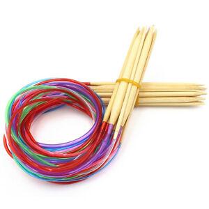 18x Wood Bamboo Circular Knitting Needles Needle Set Knitting Kit 80cm 31.5in