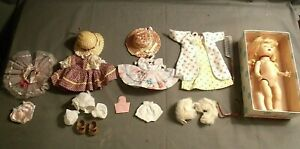 1950'S MUFFIE NANCY ANN STORYBOOK PIG-TAIL WALKER DOLL w-BOX & CLOTHES