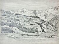 Hochgebirgs-Plateau mit Blick auf einen Gletscher, Bleistiftzeichnung, um 1900
