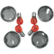 Smoke Bullet Turn Signal Lens Kit with Chrome Trim Rings For Harley
