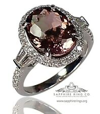 GIA 18kt 4.65 tcw Orangy-Pink Oval Cut Natural Tourmaline & Diamond Custom Ring