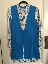 Vintage 60s Cora Fashions Cotton Dress Vest Set Blue White Floral Print Sz S-M