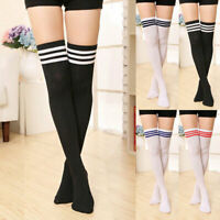 Women School Girl Sheer Striped Thigh High Stockings Over The Knee Socks