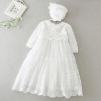 Baby girl Christening Baptism Dress Birthday Party costume Infant flower dress