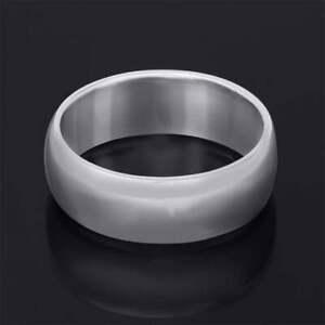 Men's Platinum Over Sterling Silver Ring 7mm