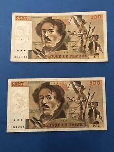 Lot de 8 Billets de 100 Francs - Delacroix -
