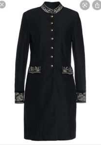 Ralph Lauren Military Embroided Jacket Size2 Uk 6 Xs Black