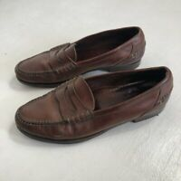 COLE HAAN Mens Shoes 11 Penny Loafers Brown Slip On Leather Casual Comfort VTG