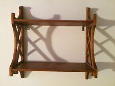 Vintage Handmade Wooden 2 Tier Wall Display Rack