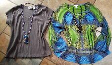 Chico's shirt lot sz 1, 4pc, 2 shirts 2 necklaces, Nice!