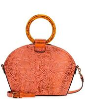 NWT Patricia Nash Mellini Satchel Metallic Tooled Forest Leather Burnt Coral Bag