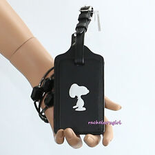 NWT Coach X Peanuts Snoopy Black Leather Luggage Tag 64405 NEW Limited Edition