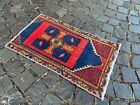 %100 WOOL HANDMADE TURKISH SMALL RUG, VINTAGE FROM 1960s, CARPET | 1,4 x 2,3 ft