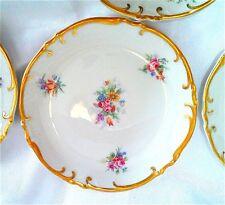 """6 Bavarian Small Plates MINT HP Floral Lavish Gold Trim 4"""" Scalloped Antiq White"""