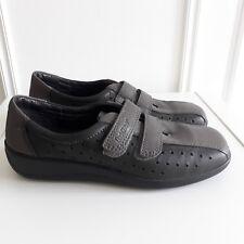 HOTTER Comfort Grey Leather Flat Shoes Cushioned Hook & Eye 'Rumba' Sz 5 / 38