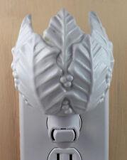 White Tulip Shape Leaf & Berry Pattern Stoneware  Custom Made Night Light