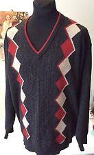 Dalkeith ~ 100% fine lambswool dark grey Argyle pattern  V neck jumper ~ XL