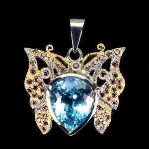 Handmade 100%natural 14ct Swiss Blue Topaz Sapphire 925 Silver Butterfly Pendant