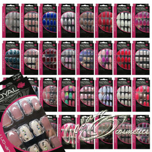 Royal Full Coverage False Nail Artificial Tips + 3g Glue Many Designs Set of 24