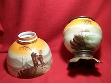 OIL LAMP KEROSENE ~EGYPTIAN REVIVAL ~ PYRAMIDS ~  OIL LAMP SHADE FONT ~ ALADDIN