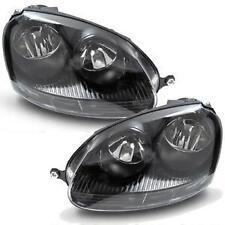 VW GOLF MK5 03-09 GTI TYPE BLACK HEADLAMPS HEADLIGHTS HALOGEN PAIR NEW