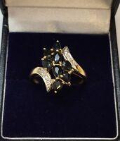 9CT YELLOW GOLD SAPPHIRE & DIAMOND RING