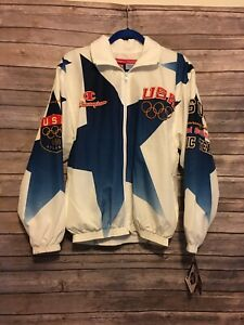 Vintage 1996 Champion olympic USA Medium jacket Atlanta NWT White Multicolor