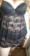 NWT Women's M Baby doll Nightgown Lingerie Black Lace G string UNDERWIRE 2pc set