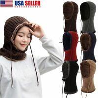 Men Women Winter Beanie Hat Scarf Set Fleece Warm Balaclava Snow Ski Cap Knitted
