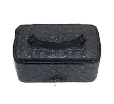 Nwt Coach Vanity Case Signature Embossed Charcoal Black Cosmetic Bag F39166 New