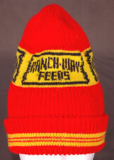 Vtg RANCH-WAY FEEDS Winter Hat-Red Yellow-Toque-Beanie-Tobogan-Farm Animal Barn.